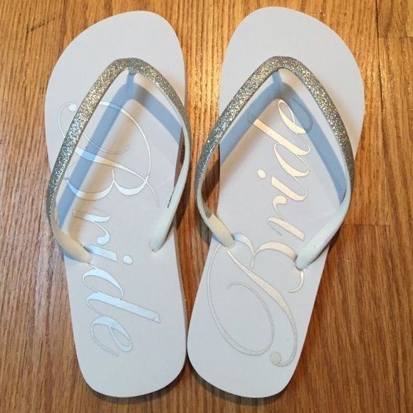 e66be65d9 Bride Flip Flops Perfect for a bride-to-be! White flip flops with