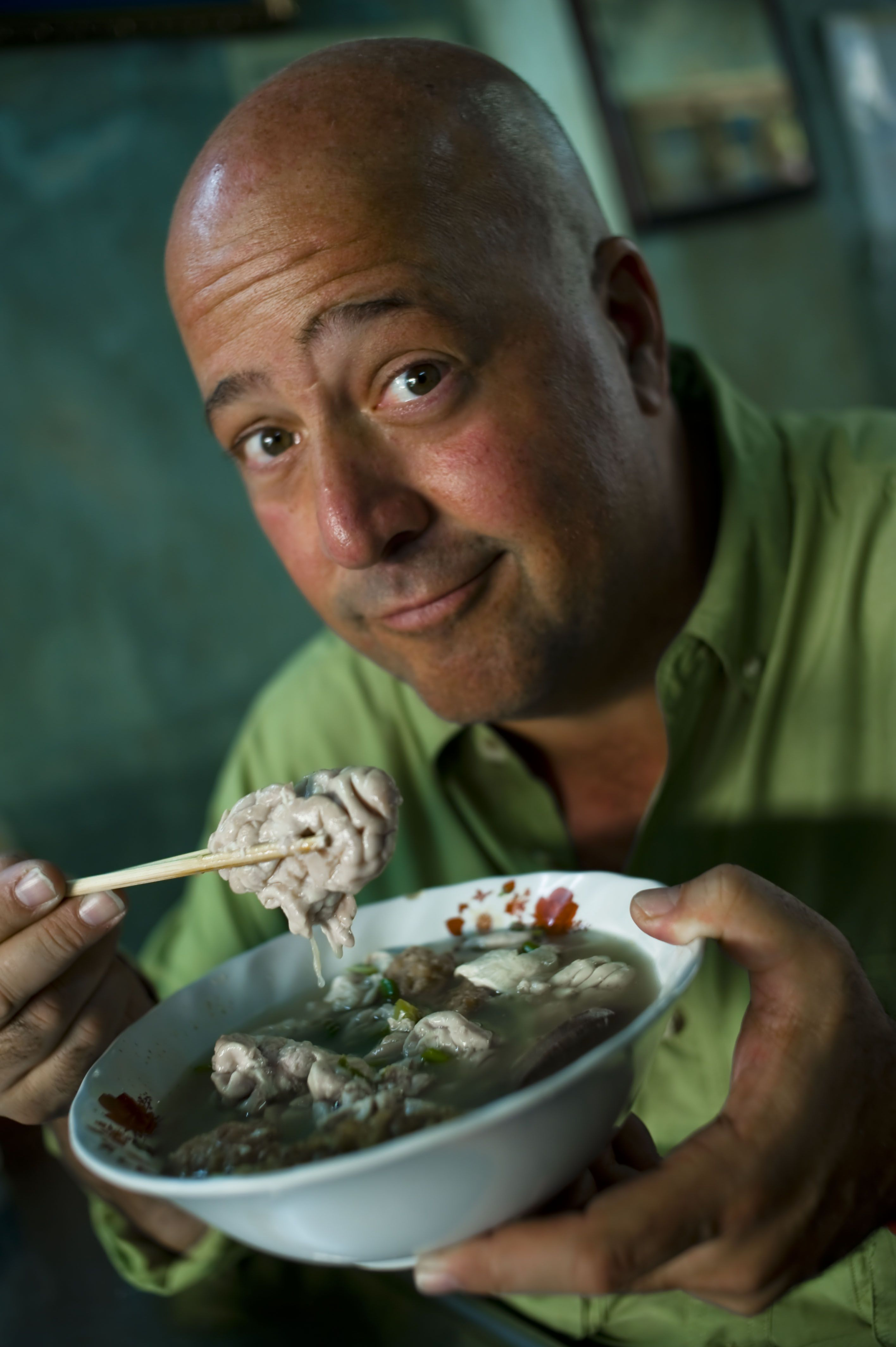 """""""Outside the kitchen my life was spiraling downward. I told myself I was in control, that I wasn't really addicted at all. I used heroin to come down from coke, alcohol to moderate the pills. I had it all figured out."""" -Andrew Zimmern  http://huff.to/1aKw6Fm Andrew Zimmern of Bizarre Foods  - The Travel Channel"""
