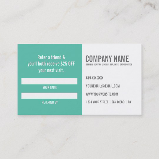 Dentist Referral Business Card Zazzle Com Dental Business Cards Dental Marketing Standard Business Card Size