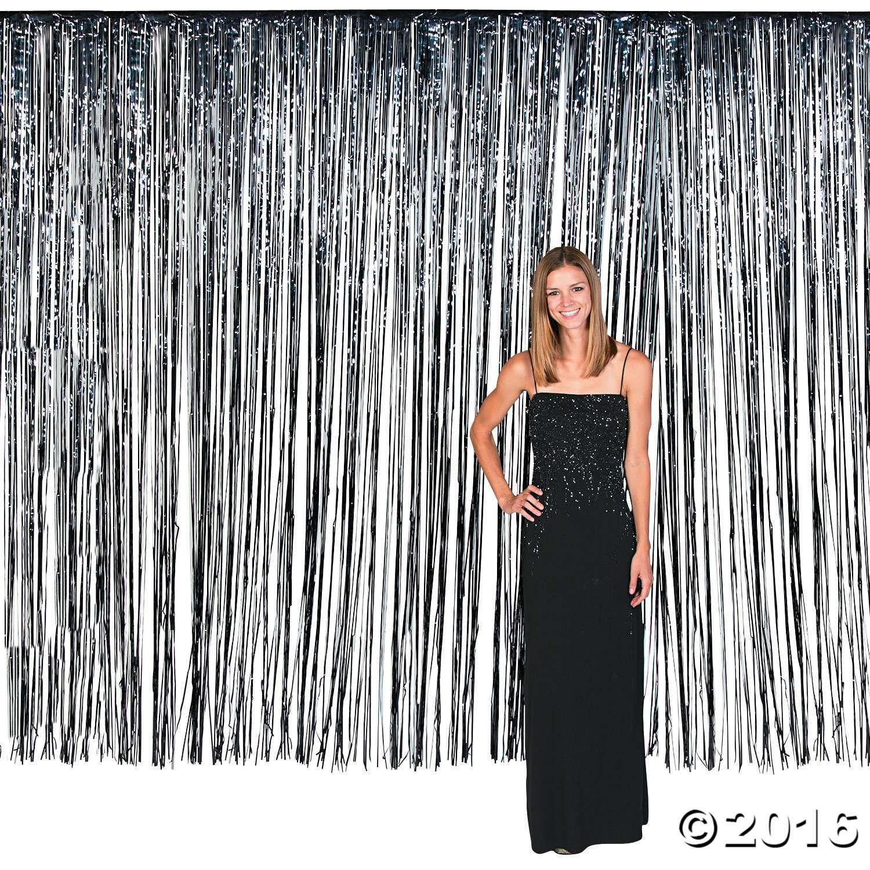 Large Black Foil Fringe Curtain Background Fringe Backdrops