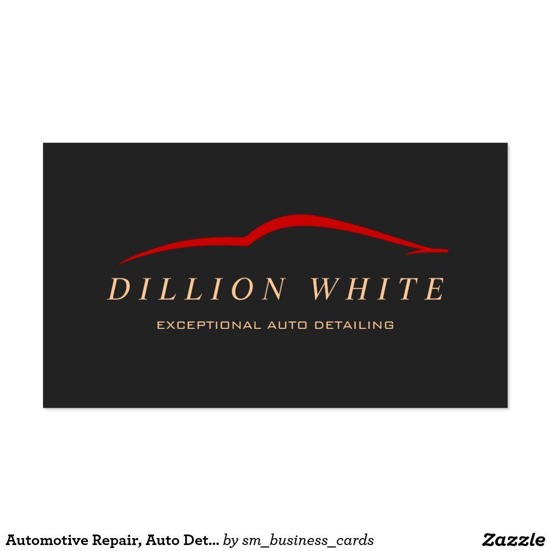 Automotive Repair, Auto Detailing, Red Car Logo Business Card ...