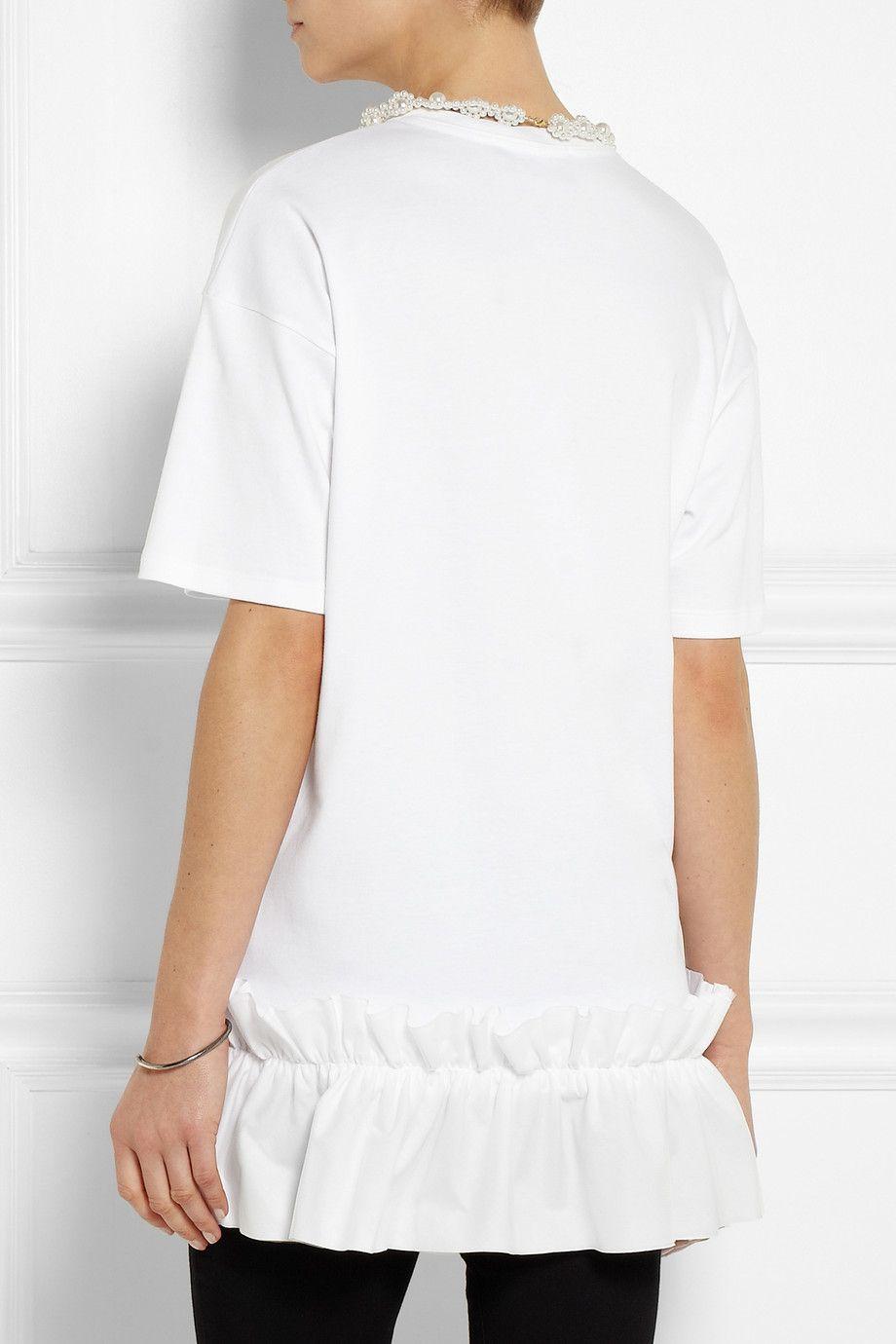 Simone Rocha Faux pearl-embellished cotton-jersey T-shirt NET-A-PORTER.COM