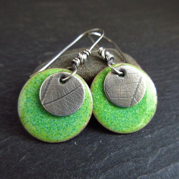 Sterling Silver Green Enamel Earrings Leaf Vein Texture Handmade Silver Enamel Earrings Enamel Jewelry