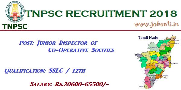Tnpsc Recruitment 2018 19 Junior Inspector Of Co Operative