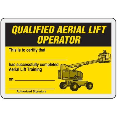 Qualified aerial lift operator card ehs templates for Scissor lift certification card template