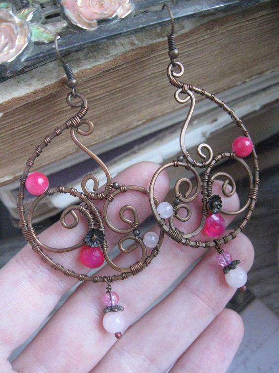 Paisley Earrings Eastern Wire Wrapped Copper Earrings by Lirimaer