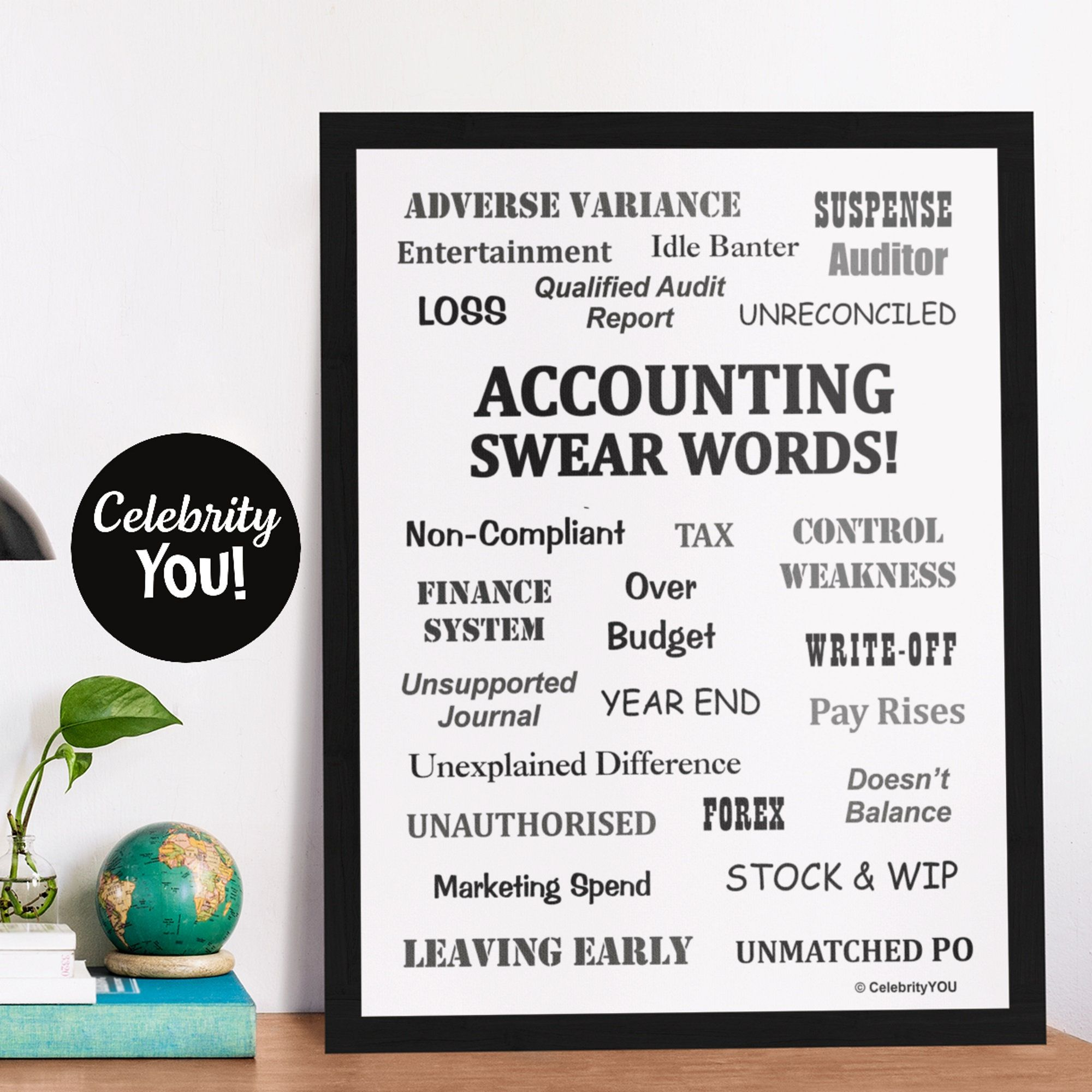 Accounting Swear Words Printable Poster Annoying Financial Etsy Accounting Humor Accountant Gifts Posters Printable