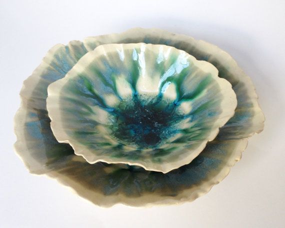 Aqua Sparkly Decorative and Functional Ceramic by redbarnpottery, $28.00+$21.95pp