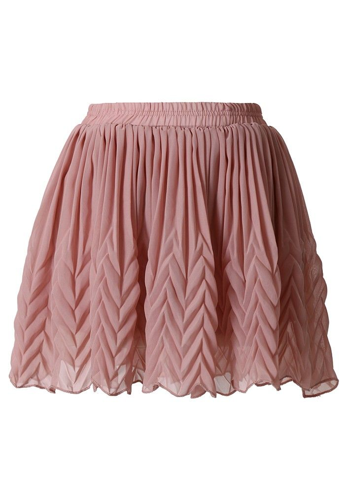 #Chicwish Pleated Chiffon Mini Skirt in Peach Pink