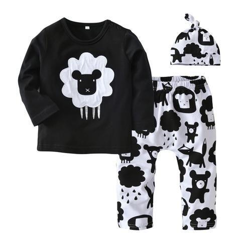 5043c73e6d59c Newborn Infant Clothes Baby Boys Girls Clothing Set Cartoon Printing Long  Sleeve Tops+Pants+Hat 3PCS Outfit Suit