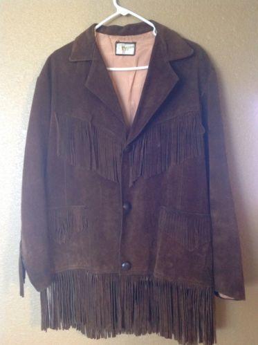 Vintage Pypsa Suede Leather Fringe Jacket Size 40 | üst grup