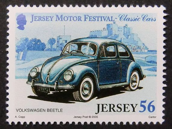 Items similar to Volkswagen Beetle Classic Cars -Handmade Framed Postage Stamp Art 11214 on Etsy