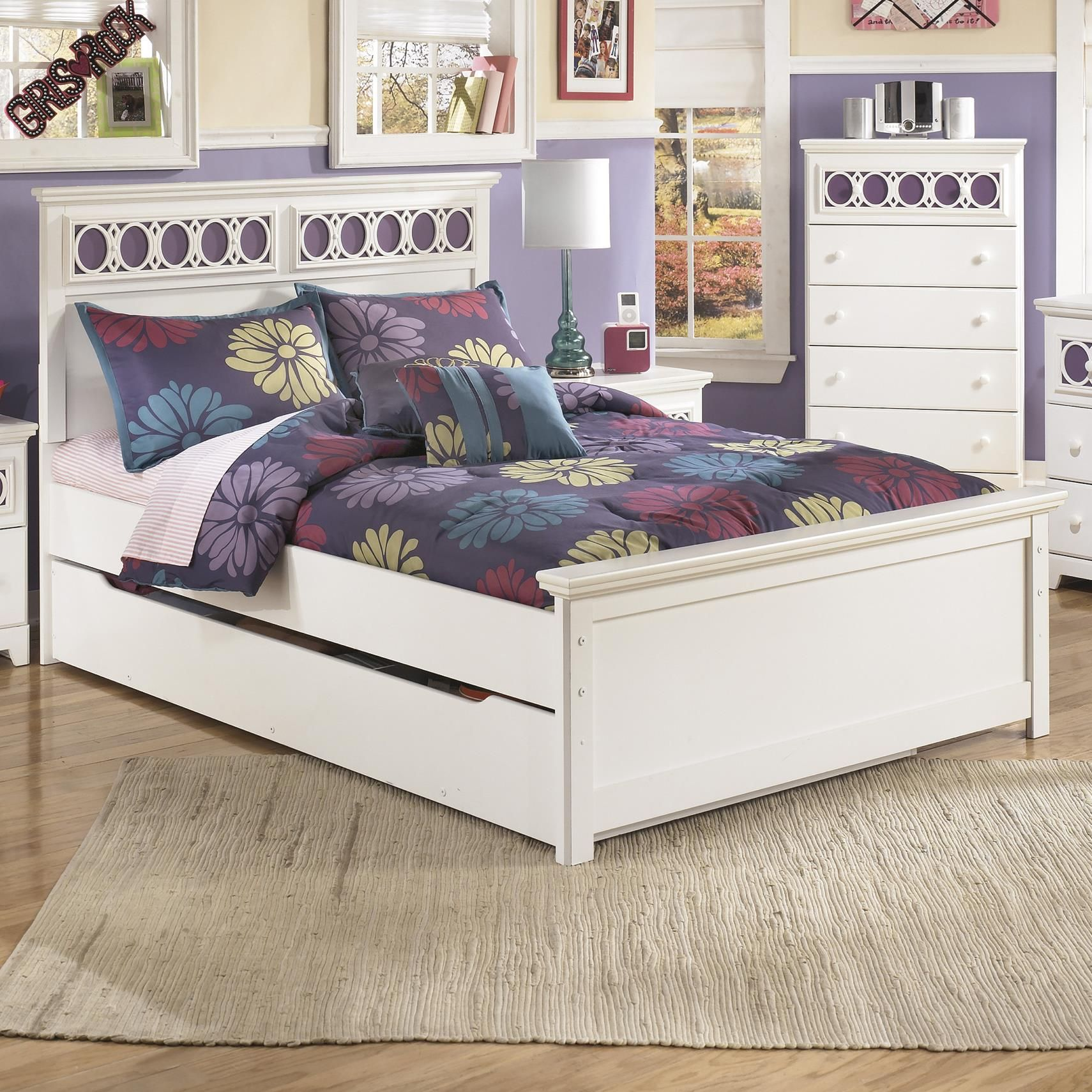 Zayley Full Platform Bed with Trundle Storage Box by