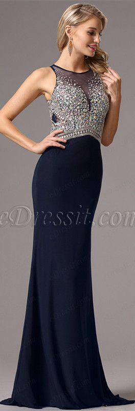 Navy blue gown with heavy beading! Price: $199.99 #edressit #dresses ...