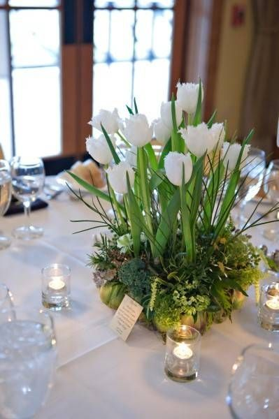 this is similar to the look that could be for the paperwhites potted with moss instead of a cut flower arrangement