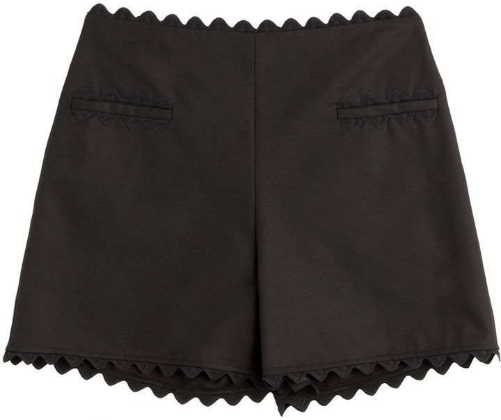 Moschino Cheap and Chic Cotton Shorts with Scalloped Trim