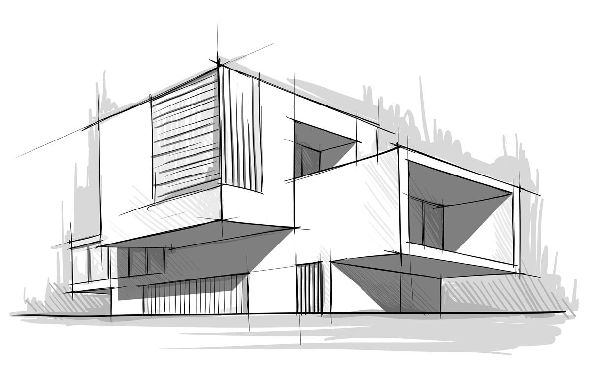 Sketch architecture interior black recherche google for Architecture house drawing