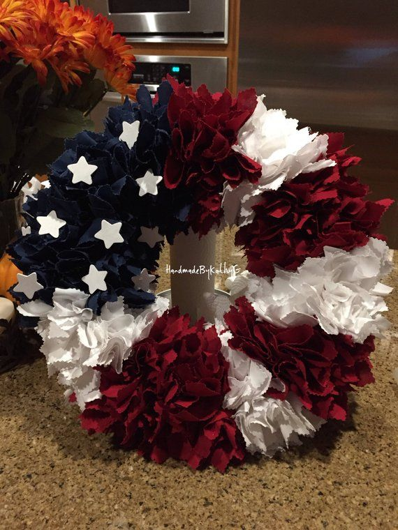 Photo of American Flag wreath, American Flag Fabric wreath, red, white, and blue, USA, Fabric, July 4th, American decor, Stars, Patriotic, door wreath