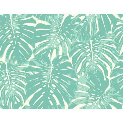 Seabrook Designs Jamaica Aqua and White Tropical Leaf