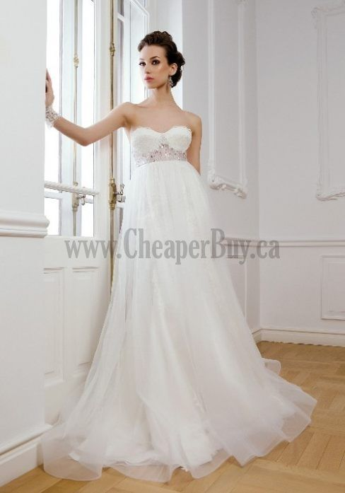 Beautiful organza sweetheart neckline, empire waist wedding dress ...