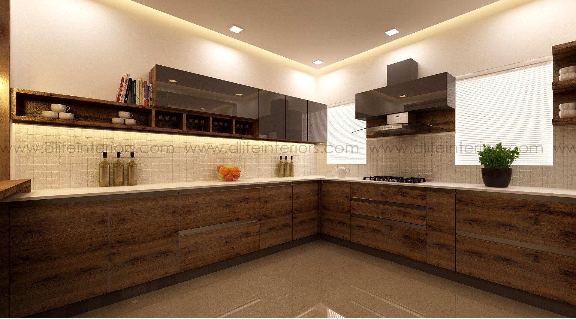Modern Kitchen With Wood Grain Finish Modern Kitchen Units Kitchen Interior Interior Design Kitchen