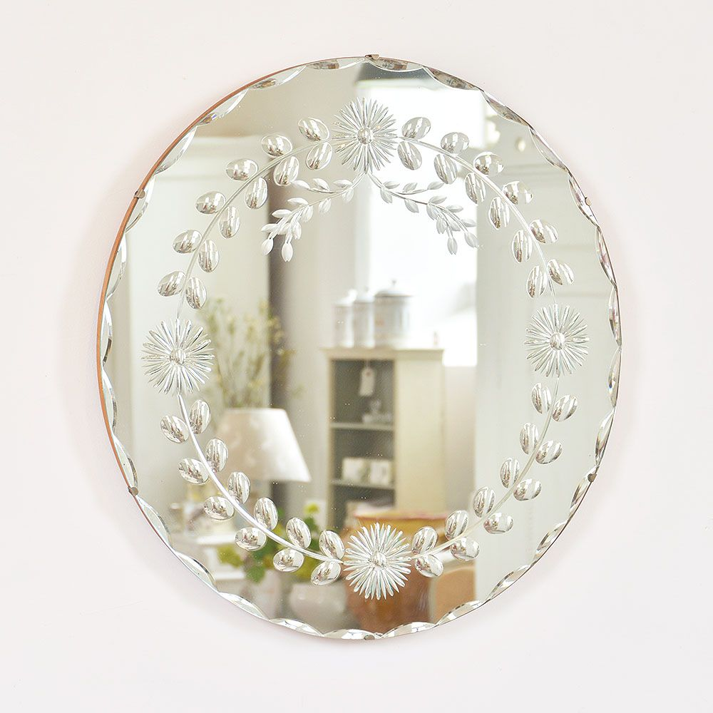 I love this pretty little round mirror vintage what makes it so i love this pretty little round mirror vintage what makes it so darling is the etching of the flowers and leaves into the glass mightylinksfo