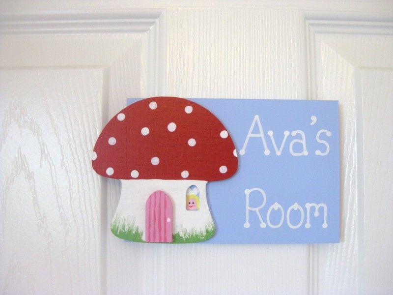 Fairy toadstool bedroom door plaque