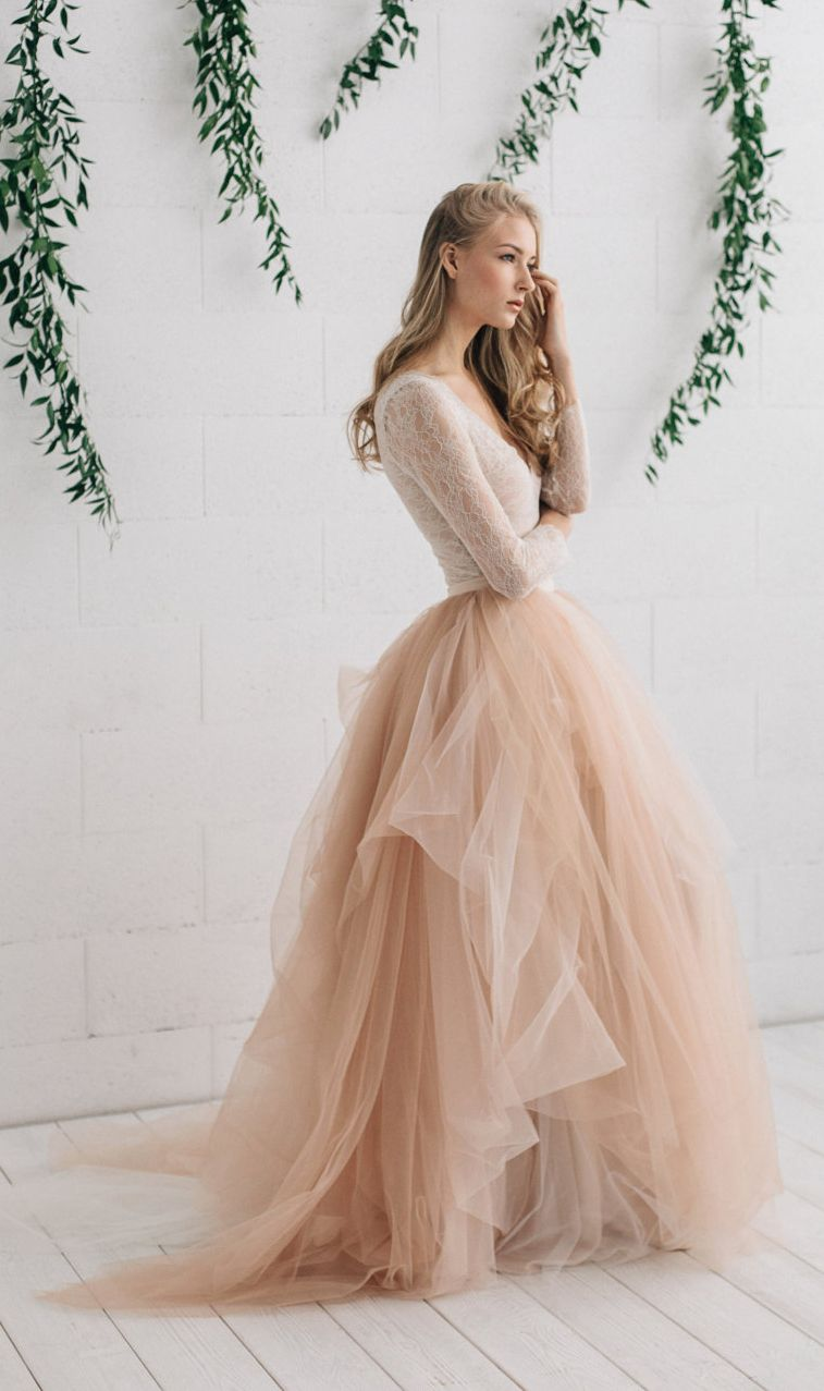 blush tulle wedding dress | Dresses | Pinterest | Wedding dress ...