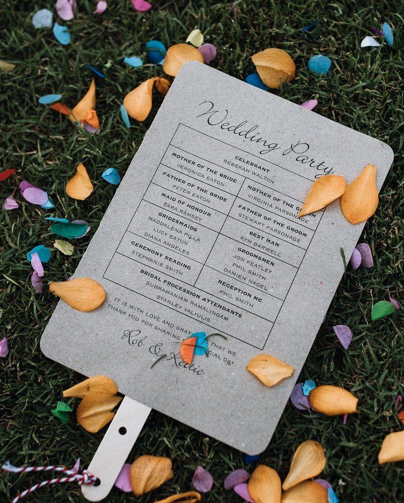 Bali wedding venues on the beach  Wedding program designed as a fan for your beach wedding  Beach