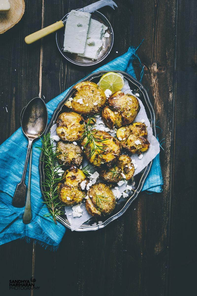 Smashed Potatoes with Rosemary & Feta cheese Recipe