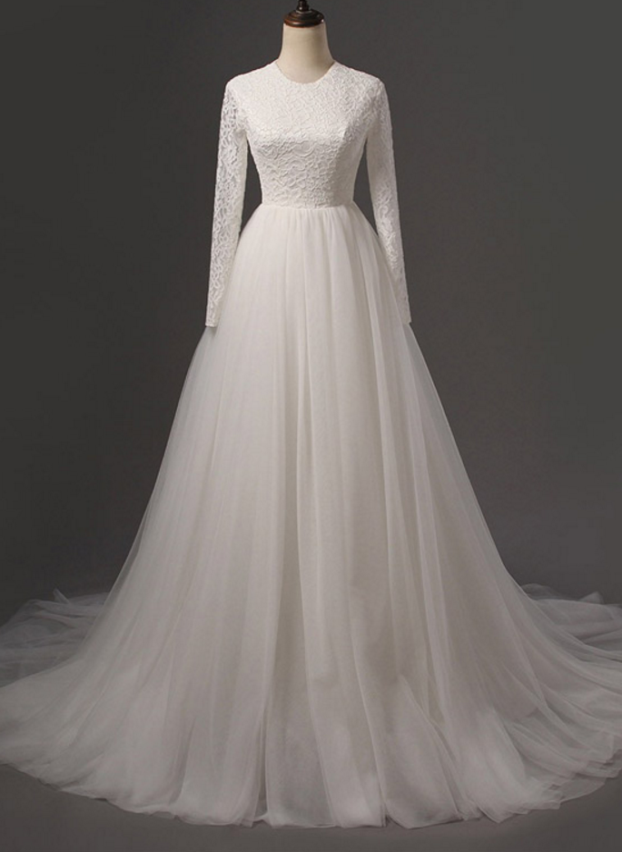 Long Wedding Dress, Lace Wedding Dress, Tulle Wedding