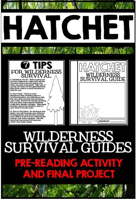 Hatchet Wilderness Survival Guides Pre Reading Activity And Final Project For The Novel Pre Reading Activities Hatchet Novel Study Wilderness Survival