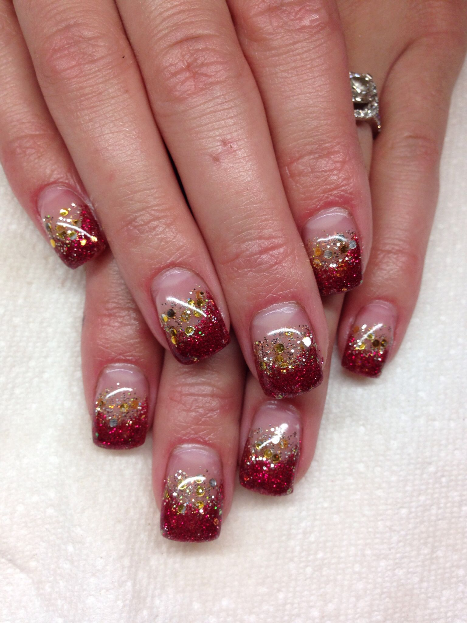 Gel nails faded red and gold glitter. Ironman inspired. | Hair and ...