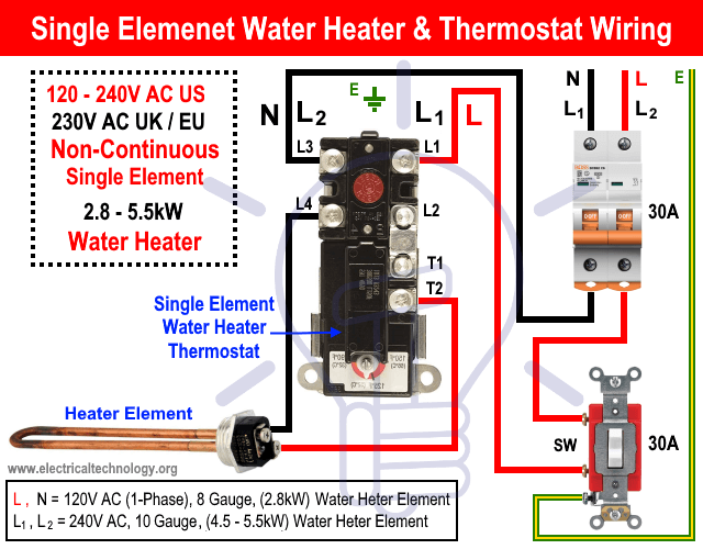 How To Wire Single Element Water Heater And Thermostat Water Heater Thermostat Water Heater Thermostat Wiring