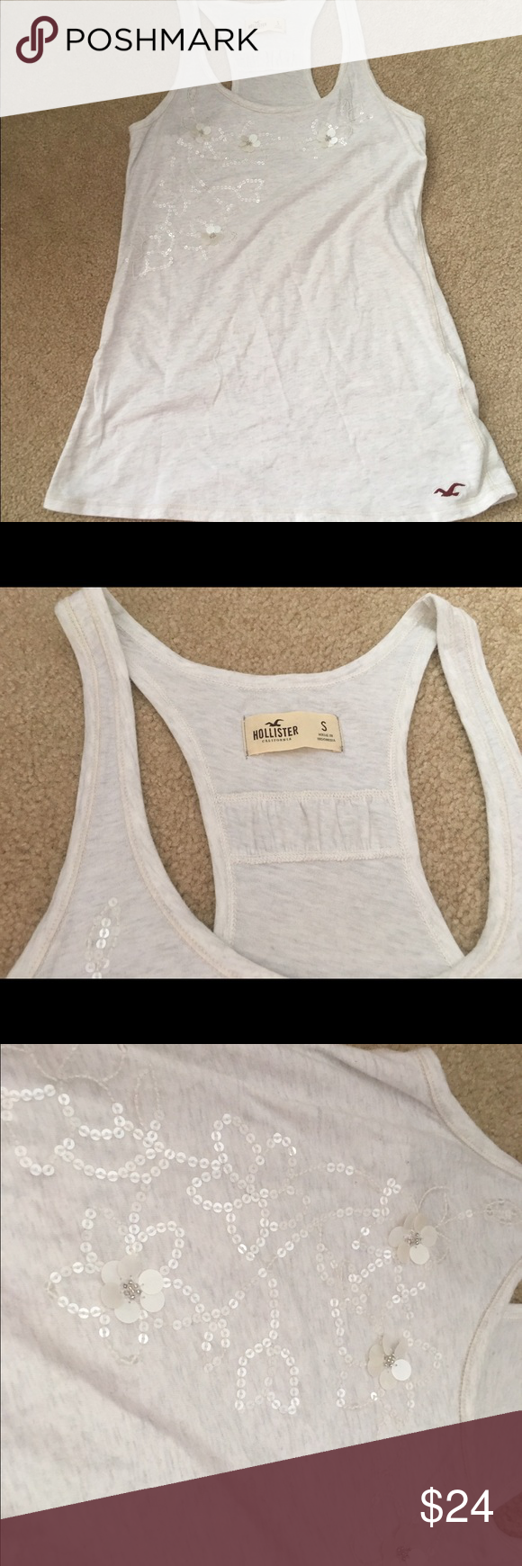 Hollister Sequin floral tank top - new! Brand new! Size small - very cute!! Color- cream/off white Hollister Tops Tank Tops