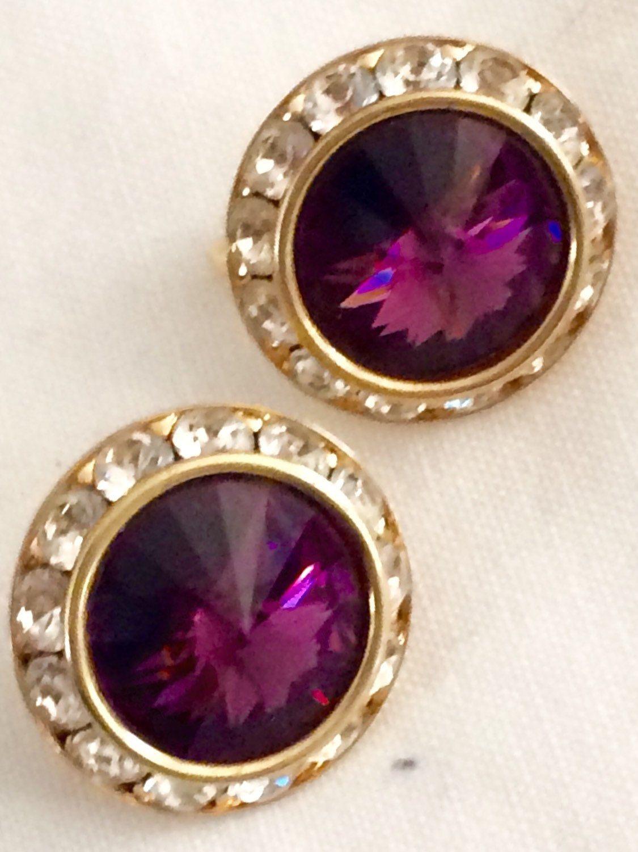 Brilliant vintage rich purple rivoli rhinestone gold tone clip on earrings  by GiosGems1 on Etsy