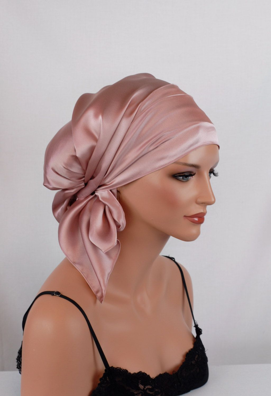 Silk Charmeuse Tichel, Wild Rose Hair Snood, Head Covering