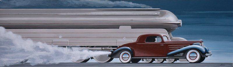 Pennsylvania Rail Road 1939 S1 locomotive and a 1937 Cadillac V-16 coupe.