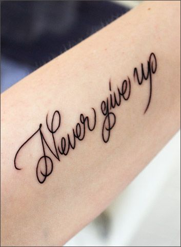 Never give up tattoo