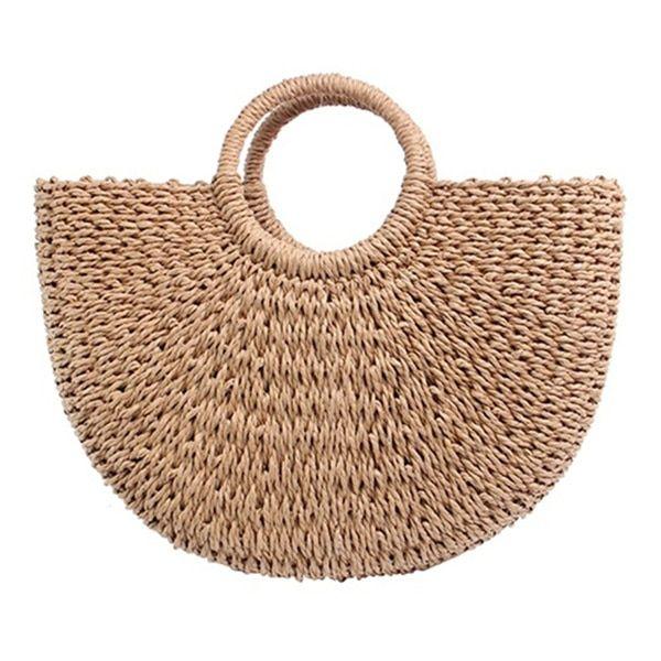 Vintage Straw Bag Round Rattan Bags Handmade Summer Bags Woven Beach Ladies Circle Shoulder Bag Bohemia Girls Travel Handbags