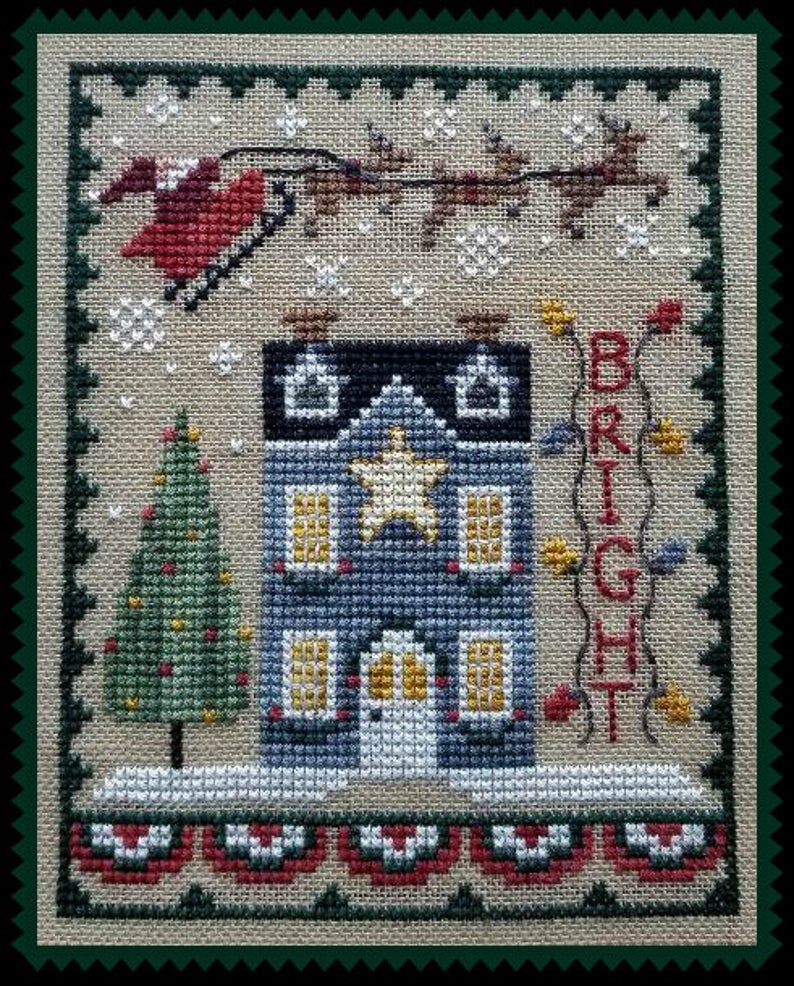 Photo of CHRISTMAS HOUSE TRIO; Digital Pattern for Cross Stitch; Instant Downloadable Pdf File; Festive Folk-Art Houses All Decorated for Christmas