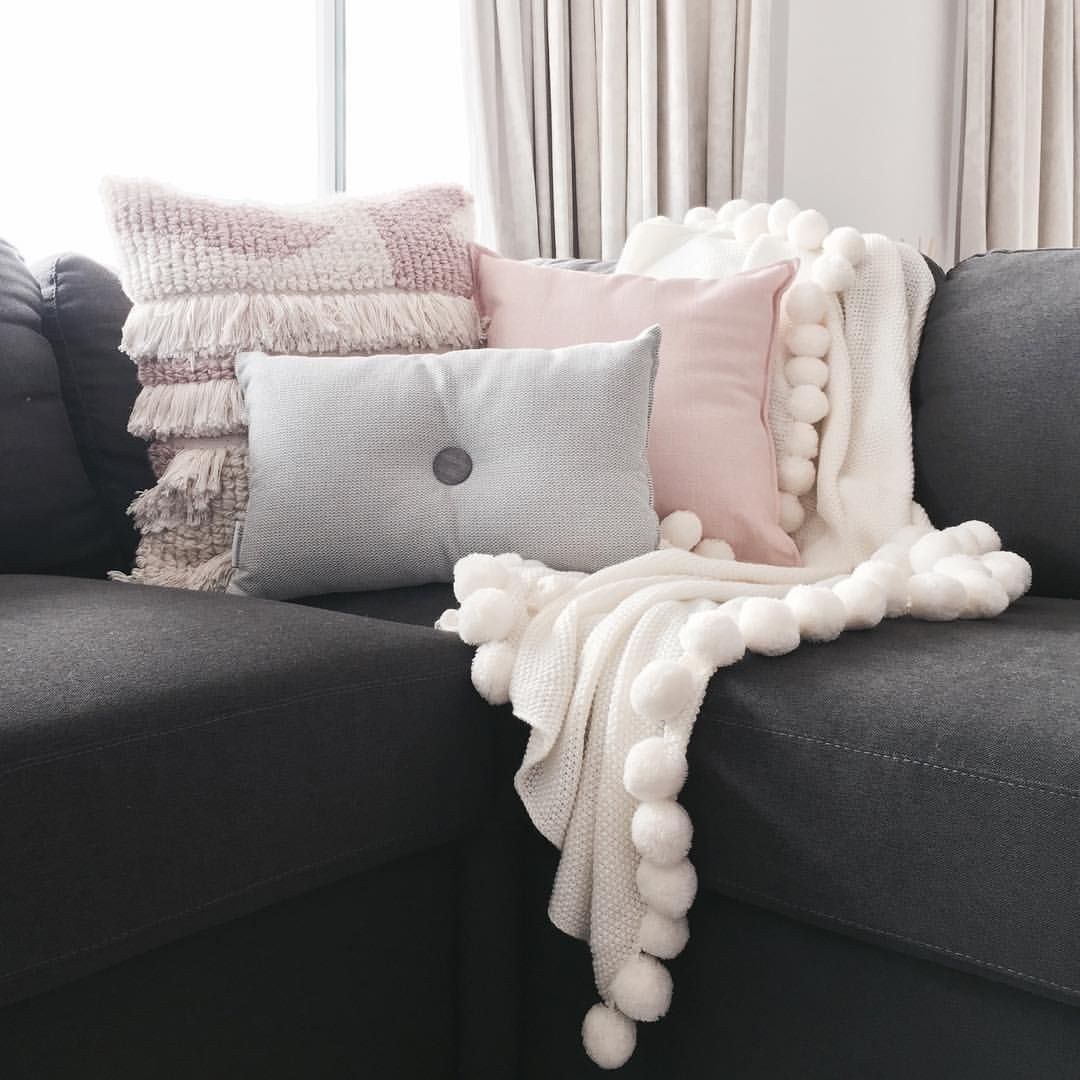 Stylingbytiffany On Instagram Living Space Couch Home Decor Cushions Adairs Pink Grey White C Lounge Room Styling Grey Couch Living Room Living Room Cushions