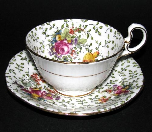 Vintage Aynsley Green Leaves Tulip Roses Teacup and Saucer