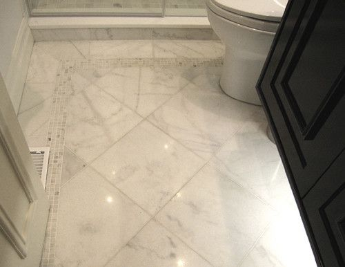 Sino Carrara Sino Carrara 12x12 Polished Tiles Bordered With Mosaics Traditionally Class Carrera Marble Bathroom Marble Bathroom Designs Marble Tile Bathroom