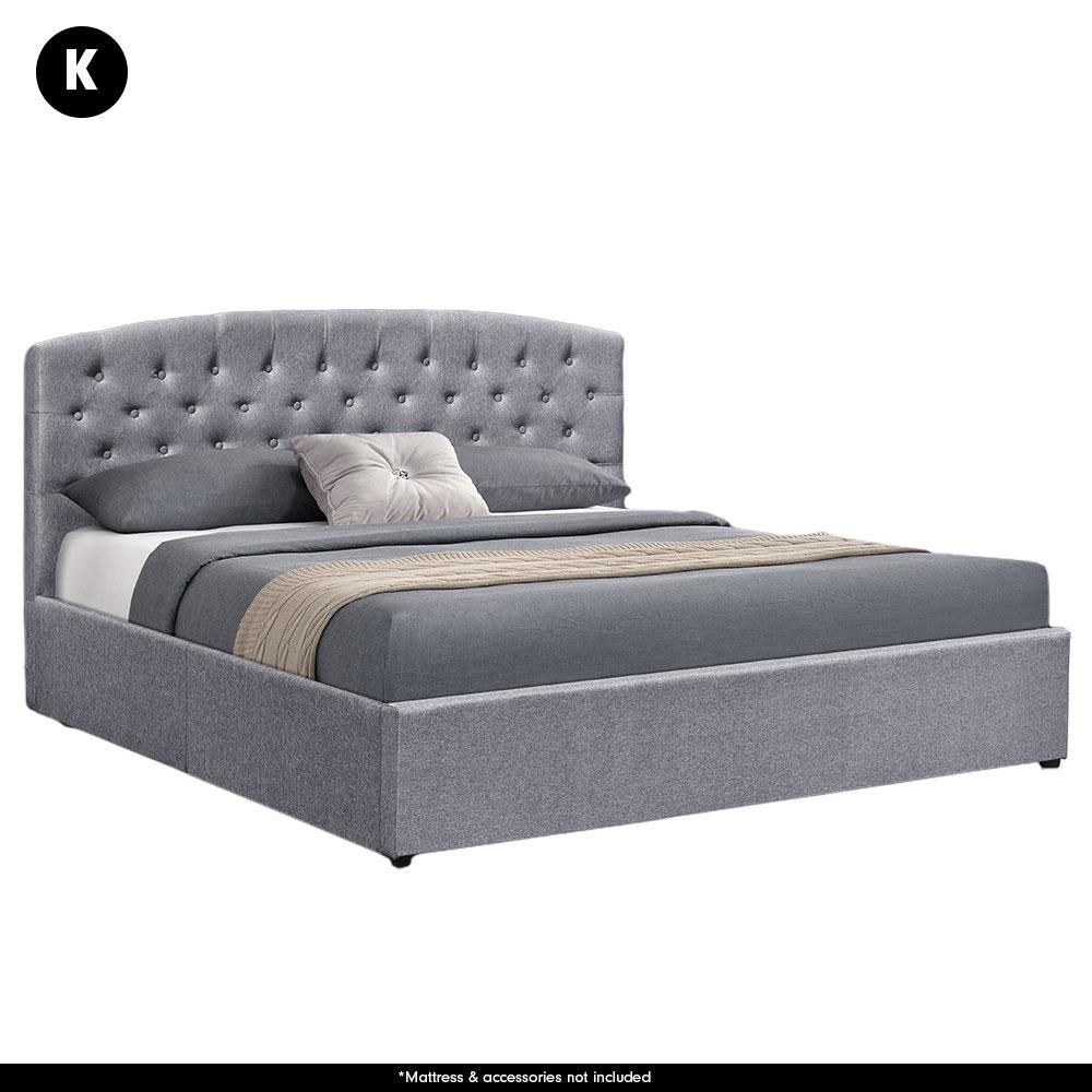 King Fabric Gas Lift Storage Bed Frame With Headboard Dark Grey