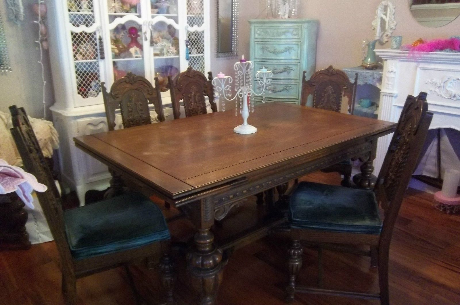 Gothic dining room table set with 6 chairs and server for Ensemble table buffet