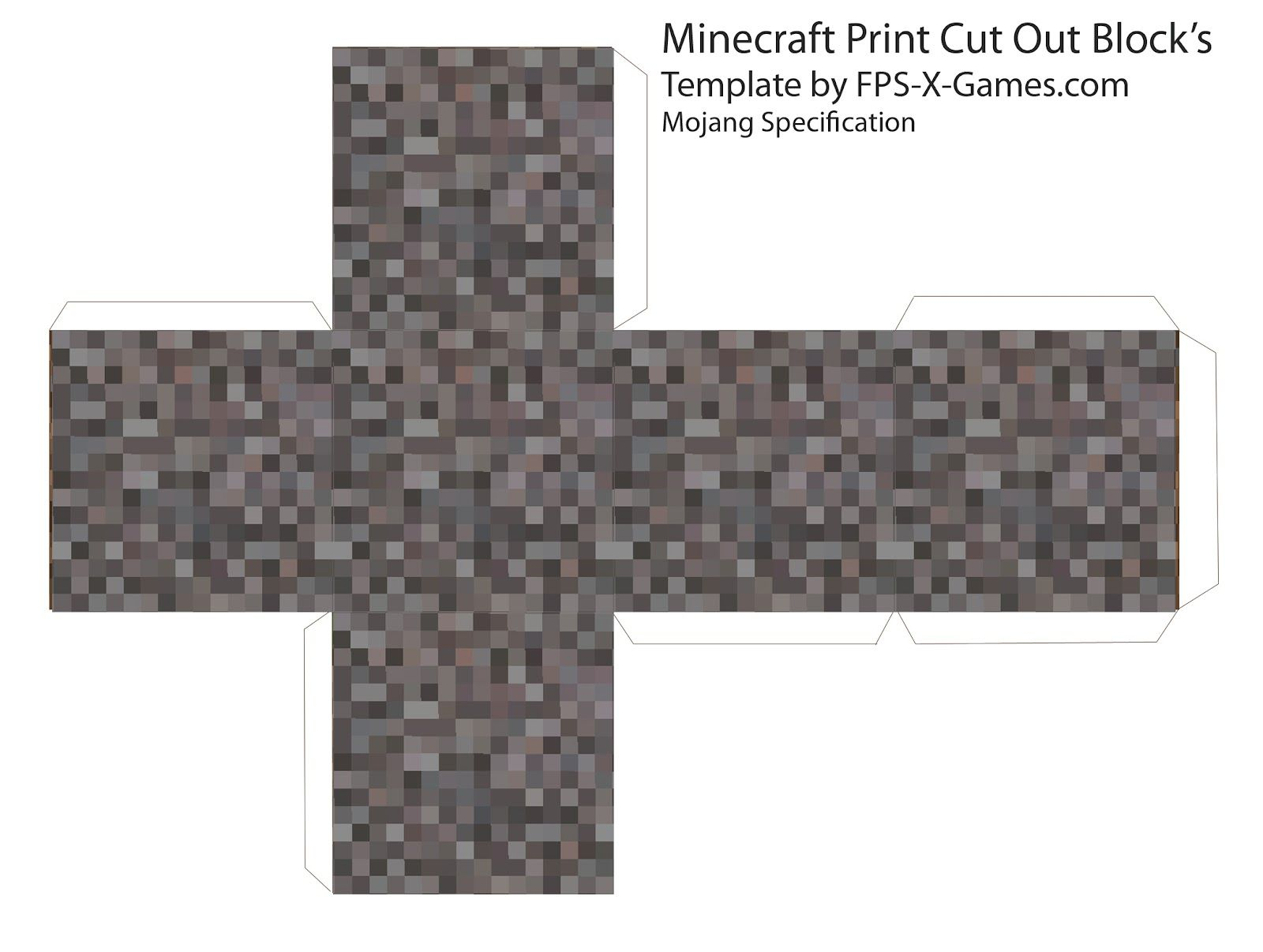 Papercraft template minecraft gravel block more on the for Minecraft cut out templates
