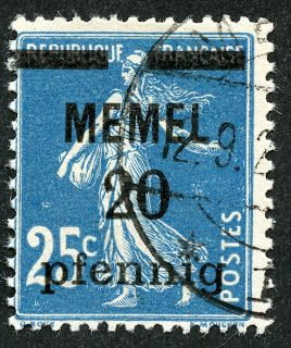 1920 Scott 20 20pf on 25c blue Stamps of France, surcharged in black The French took over administration of the Memel territory for the Allies, and so French stamps were then surcharged. There were an initial issue of 12 stamps of French origin surcharged in 1920.