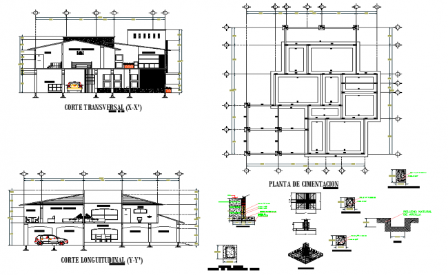 Foundation Plan And Section House Plan Autocad File House Plans How To Plan House Foundation