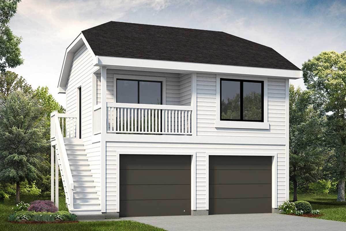 Plan 88330SH Detached 2Bed Garage Plan with Bedroom